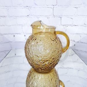 VINTAGE MOD Amber Pebbled Glass Beverage Pitcher